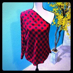 Ralph Lauren plaid one sleeve blouse EUC Small